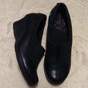 Merrell Tulip Black Gray Leather & Wool